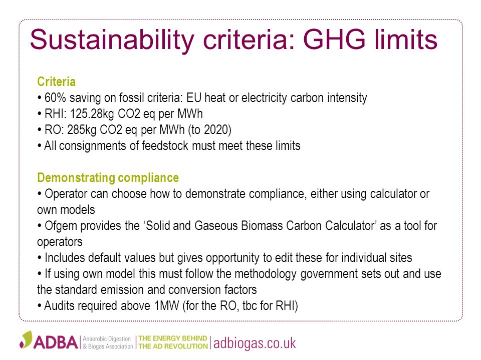 Sustainability criteria: GHG limits