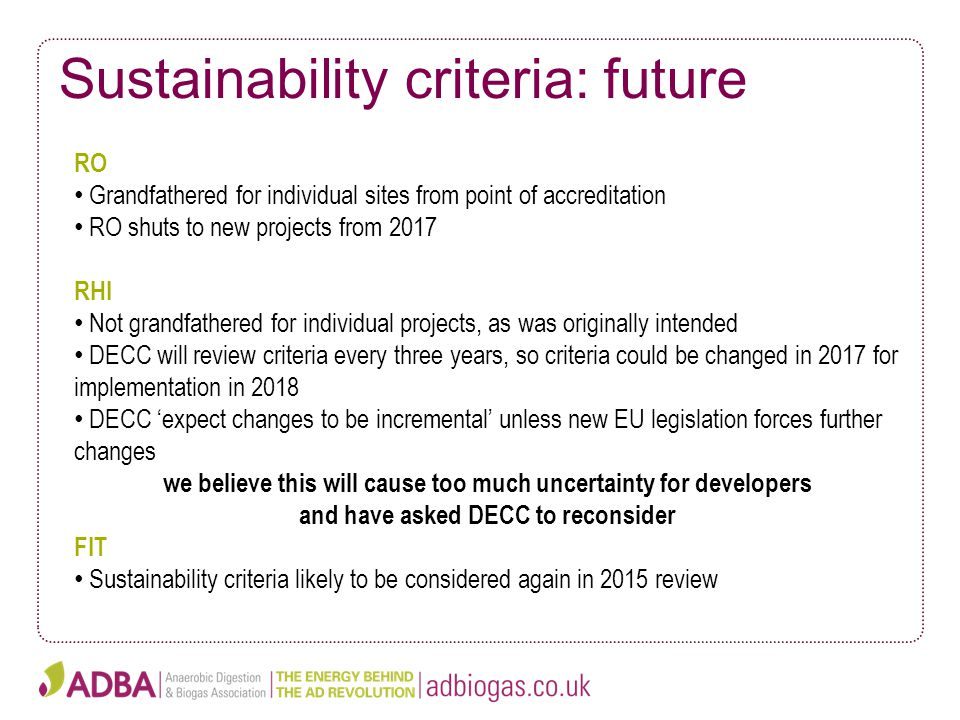 Sustainability criteria: future