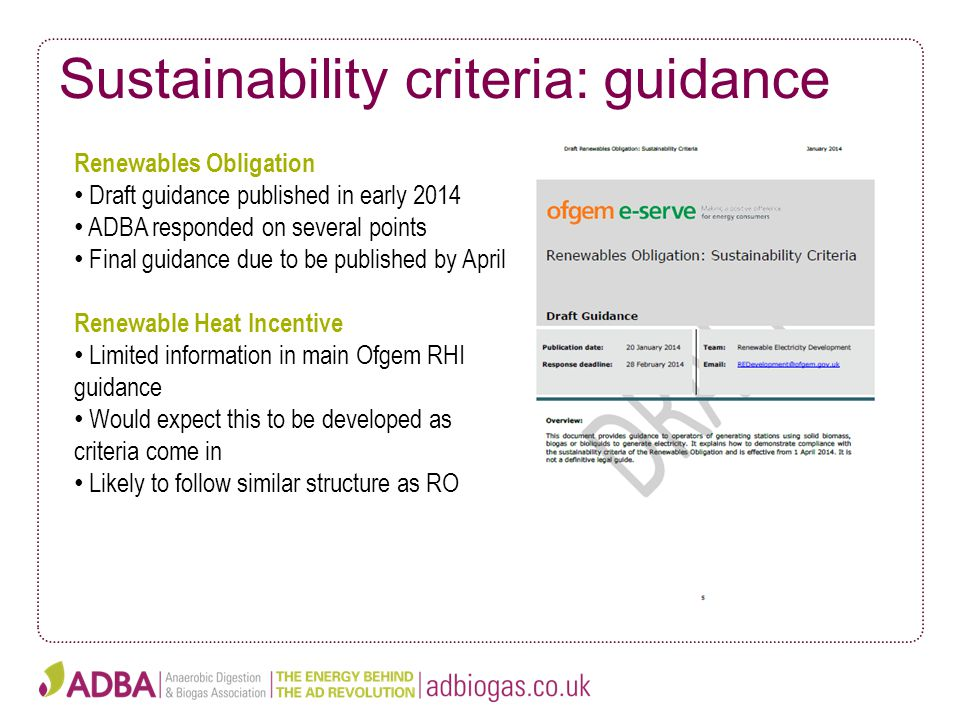 Sustainability criteria: guidance