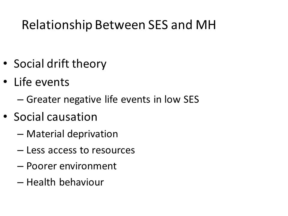 Relationship Between SES and MH