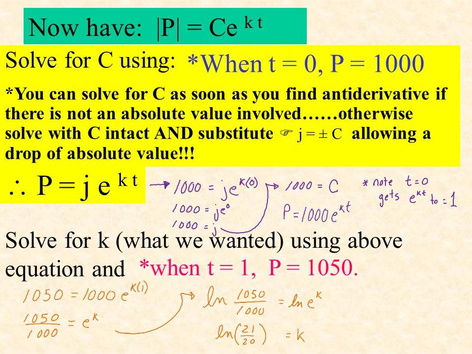  P = j e k t Now have: |P| = Ce k t *When t = 0, P = 1000