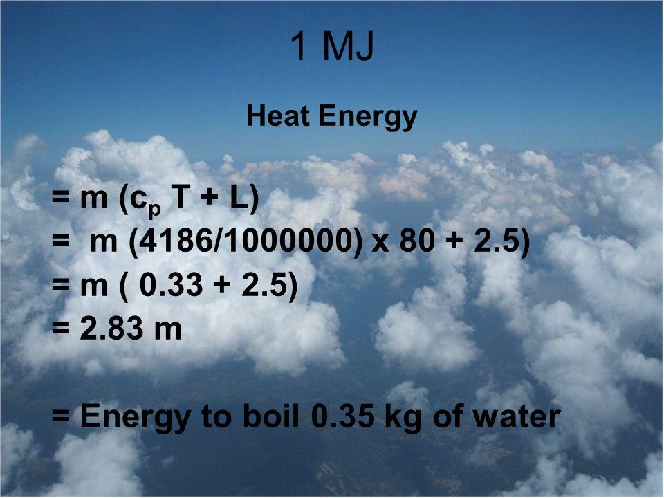 1 MJ = m (cp T + L) = m (4186/1000000) x 80 + 2.5) = m ( 0.33 + 2.5)