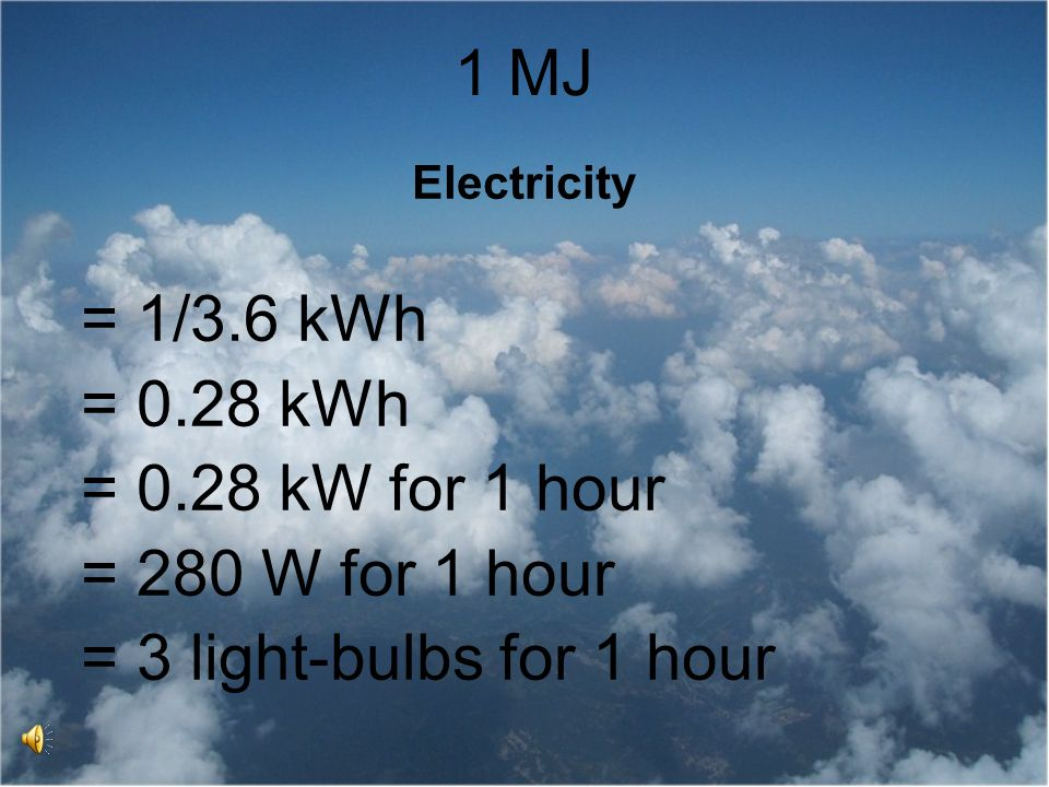 1 MJ = 1/3.6 kWh = 0.28 kWh = 0.28 kW for 1 hour = 280 W for 1 hour