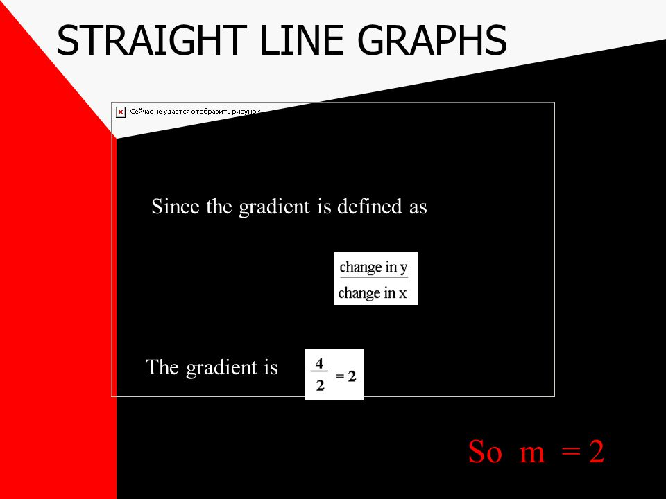 STRAIGHT LINE GRAPHS So m = 2 Since the gradient is defined as