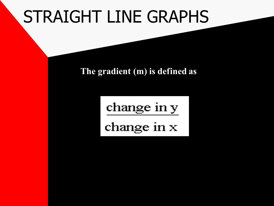 STRAIGHT LINE GRAPHS The gradient (m) is defined as