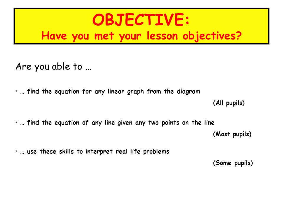 OBJECTIVE: Have you met your lesson objectives