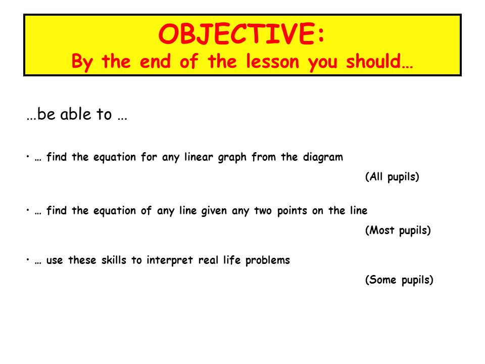 OBJECTIVE: By the end of the lesson you should…