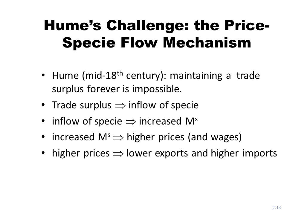 Hume's Challenge: the Price-Specie Flow Mechanism