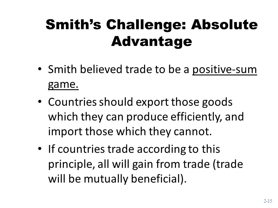Smith's Challenge: Absolute Advantage