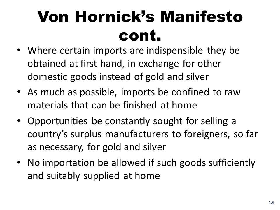 Von Hornick's Manifesto cont.