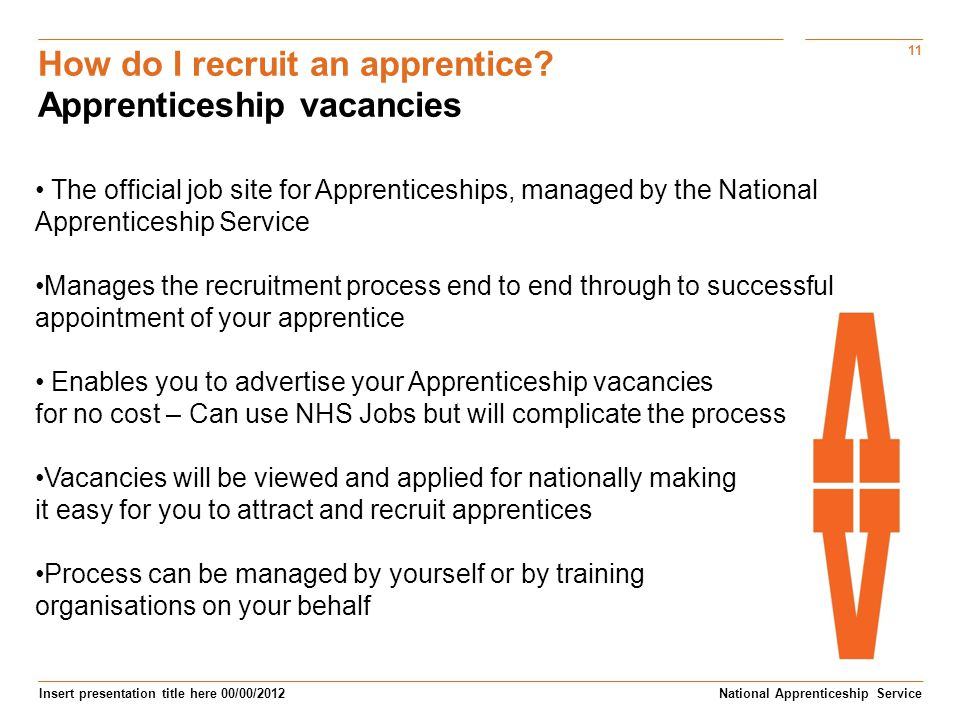 How do I recruit an apprentice Apprenticeship vacancies