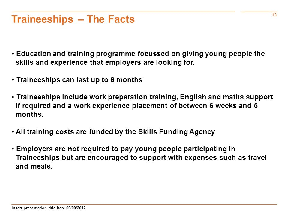 Traineeships – The Facts