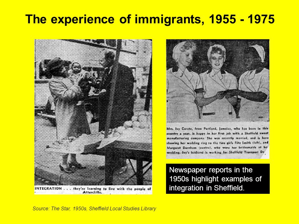 The experience of immigrants,