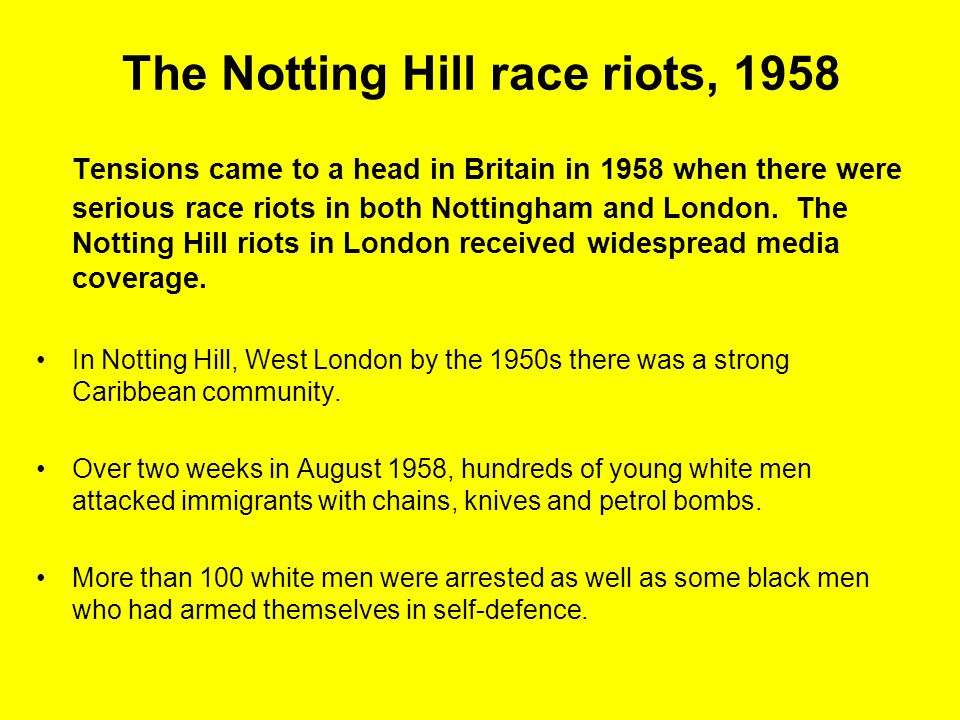 The Notting Hill race riots, 1958
