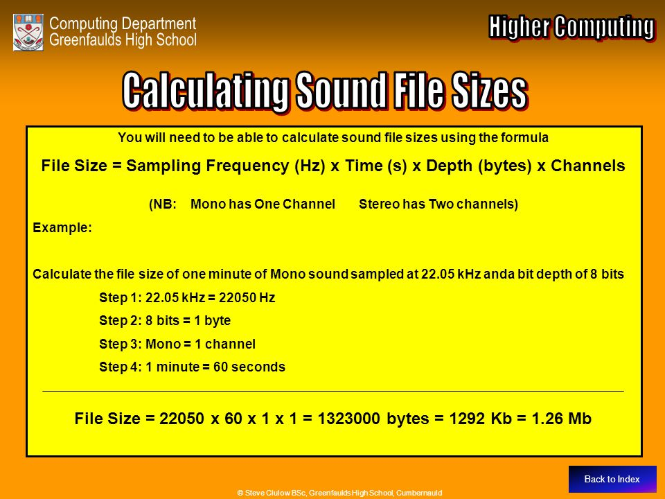 Calculating Sound File Sizes
