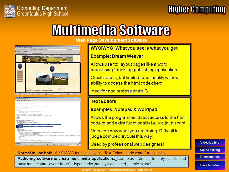 Multimedia Software – Web Page Creation Software