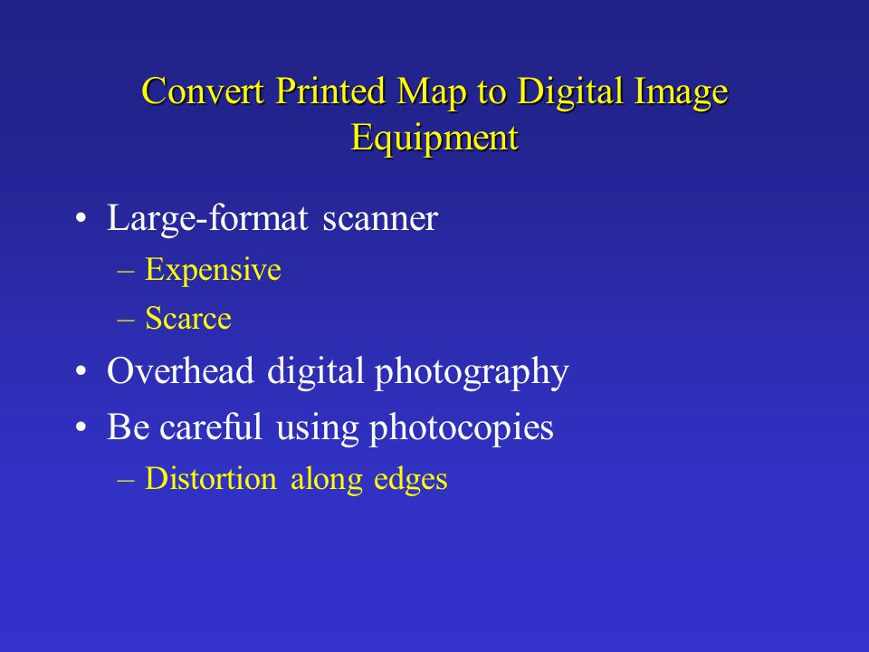 Convert Printed Map to Digital Image Equipment