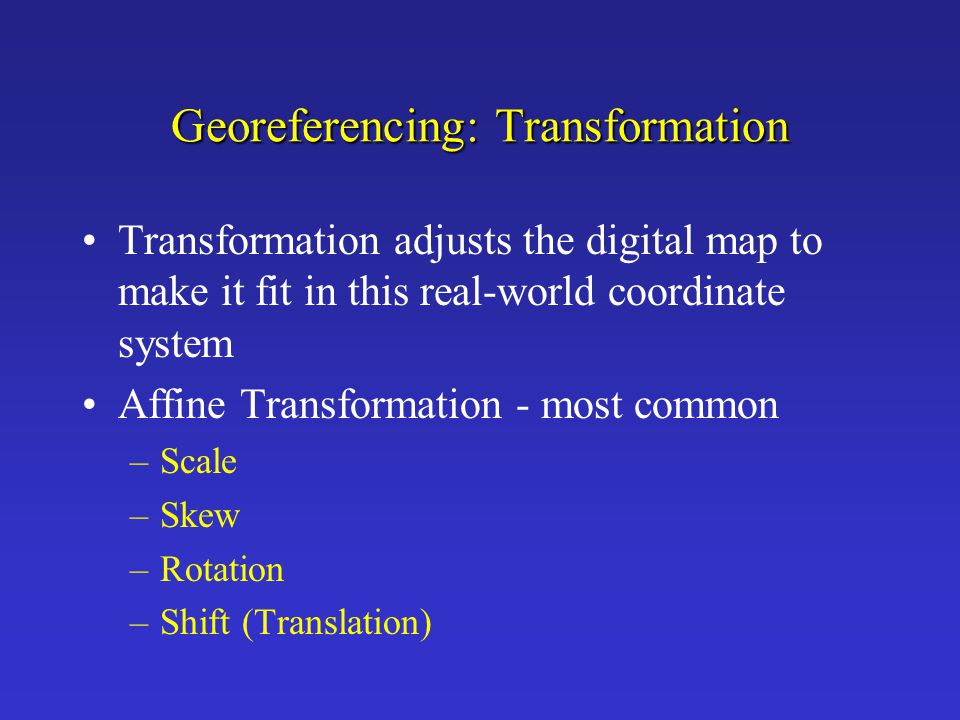 Georeferencing: Transformation