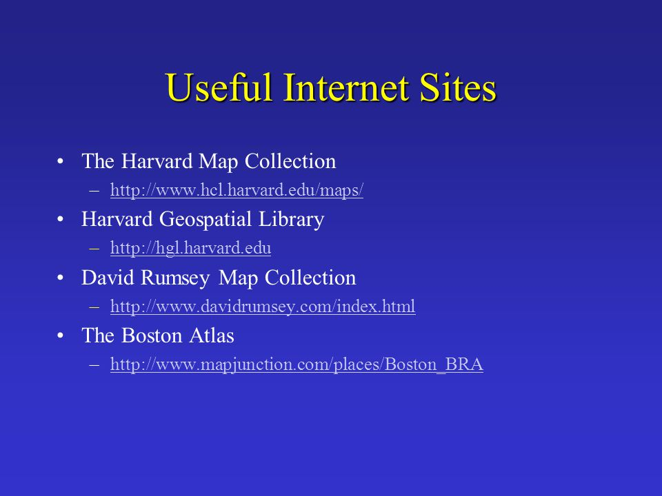 Useful Internet Sites The Harvard Map Collection