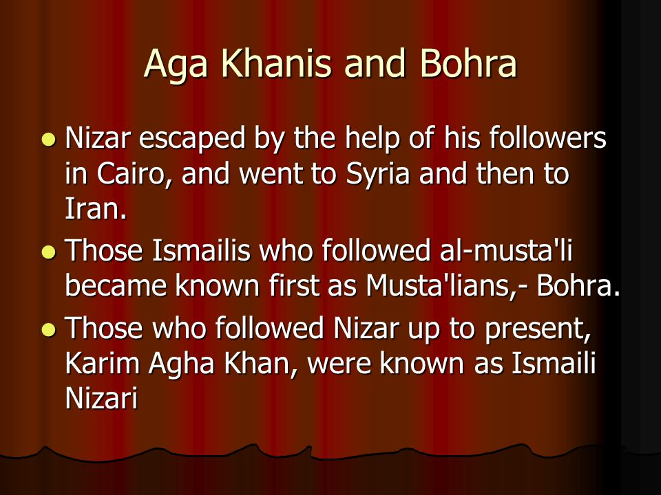 Aga Khanis and Bohra Nizar escaped by the help of his followers in Cairo, and went to Syria and then to Iran.