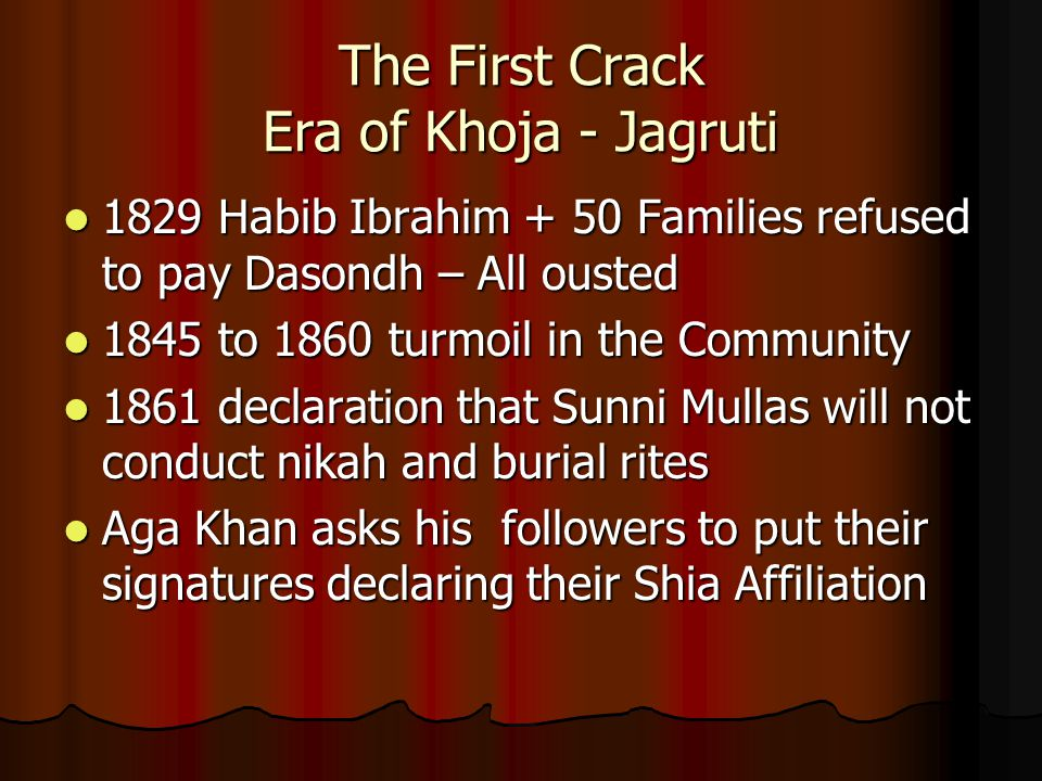 The First Crack Era of Khoja - Jagruti