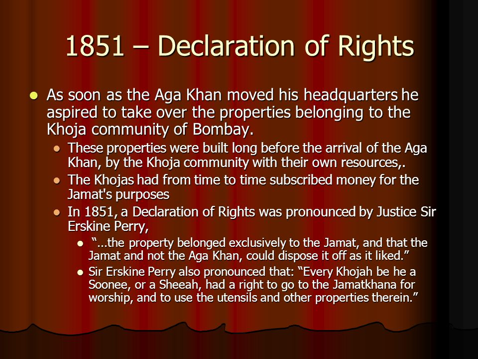 1851 – Declaration of Rights