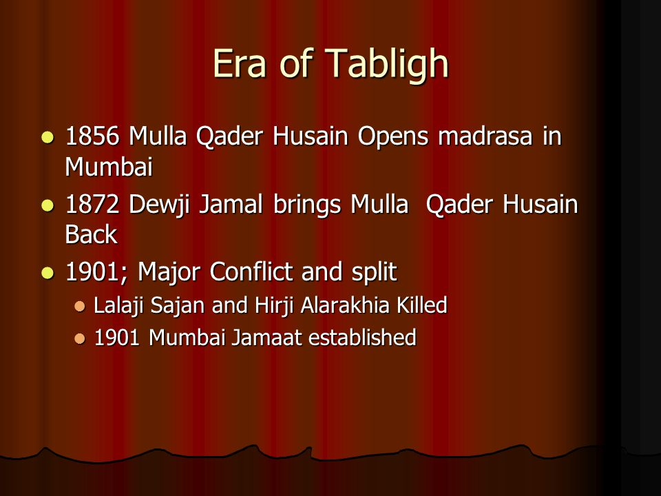 Era of Tabligh 1856 Mulla Qader Husain Opens madrasa in Mumbai