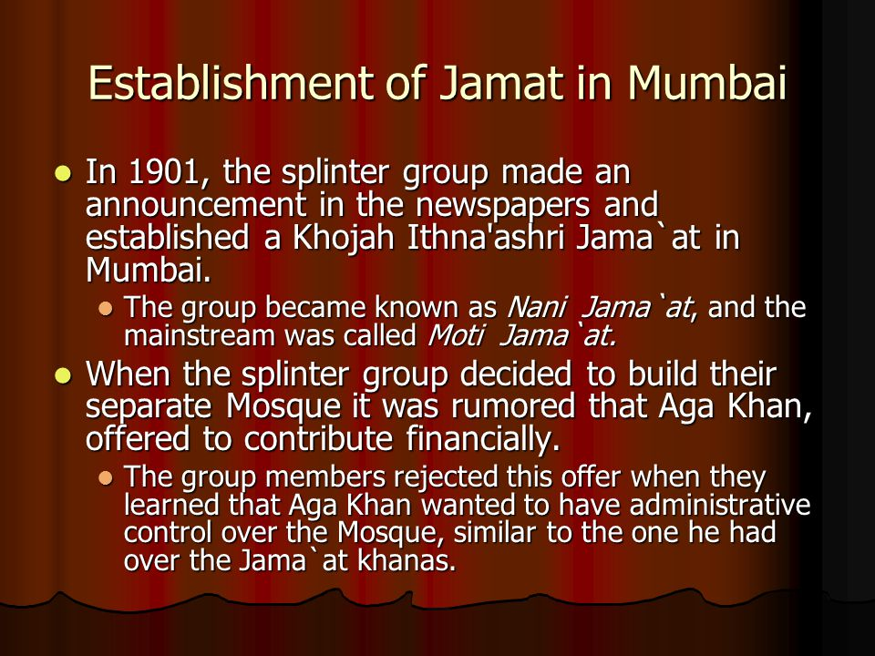 Establishment of Jamat in Mumbai