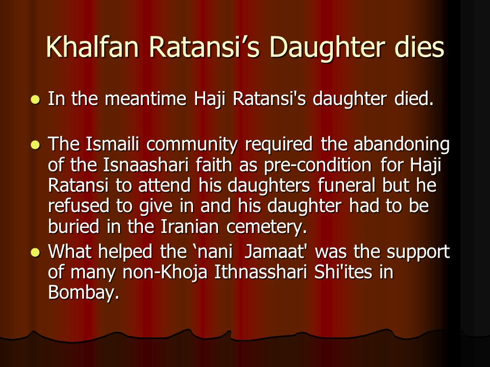 Khalfan Ratansi's Daughter dies