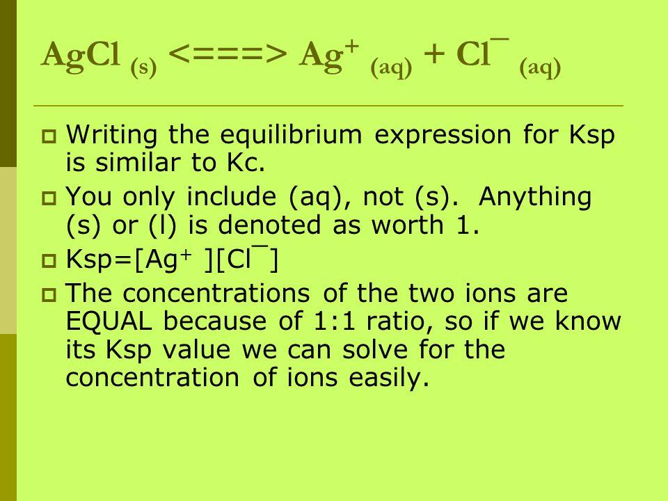 AgCl (s) <===> Ag+ (aq) + Cl¯ (aq)