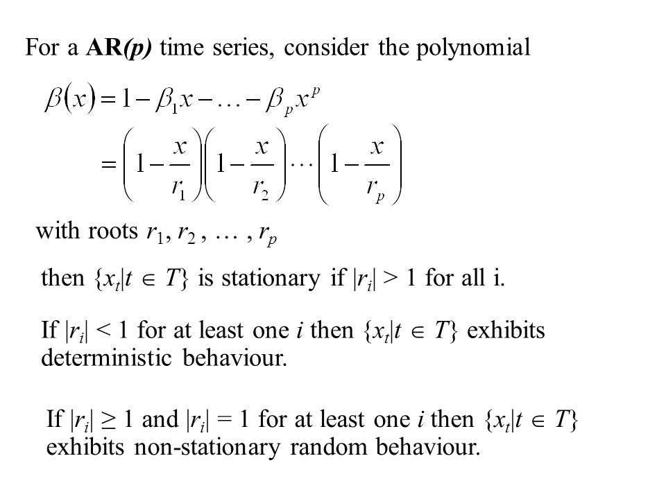 For a AR(p) time series, consider the polynomial