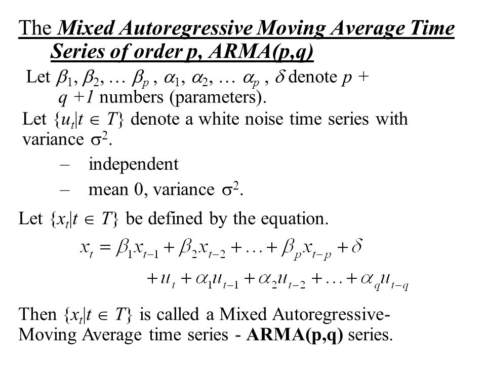 The Mixed Autoregressive Moving Average Time Series of order p, ARMA(p,q)