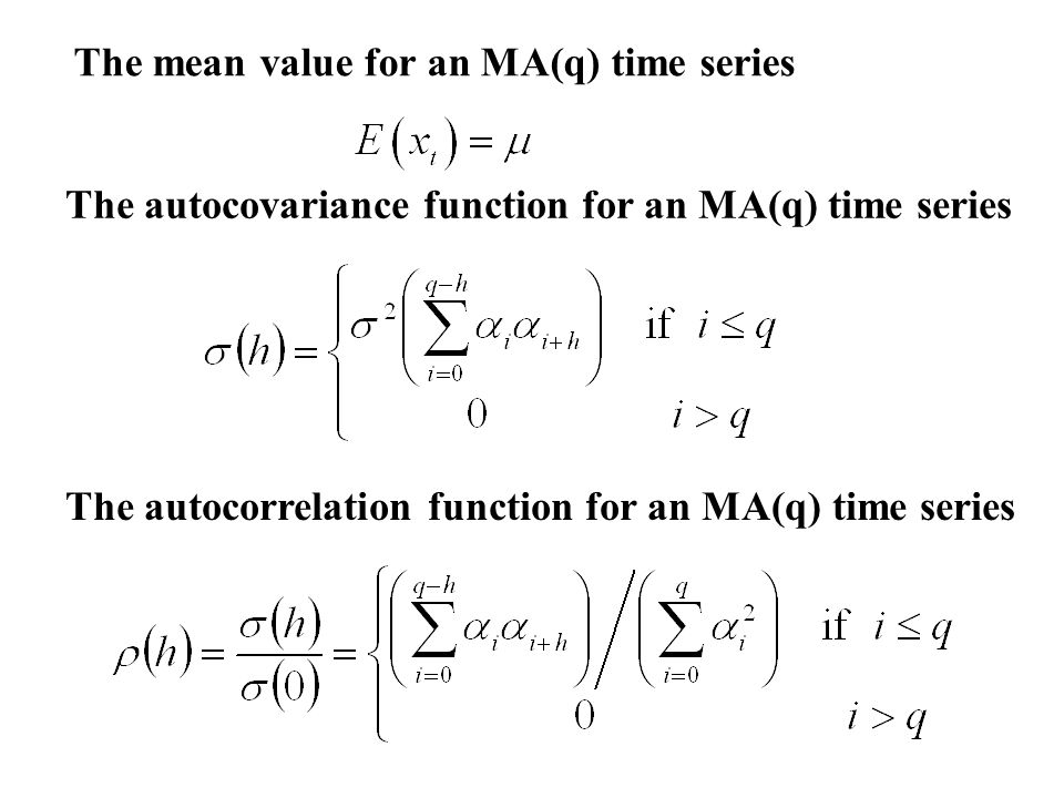 The mean value for an MA(q) time series