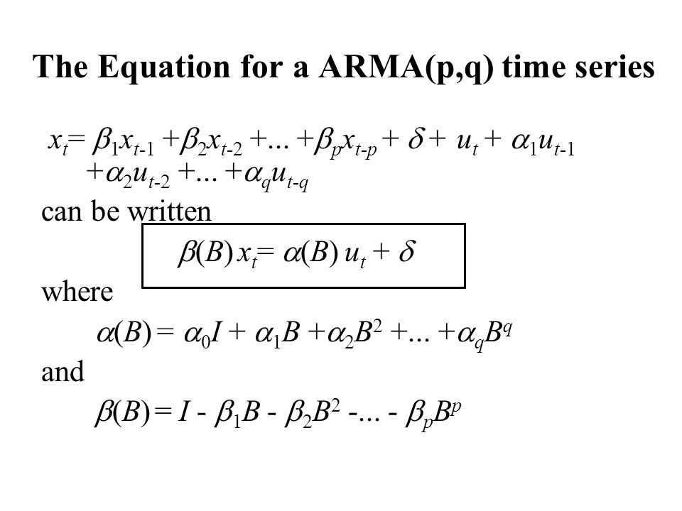 The Equation for a ARMA(p,q) time series