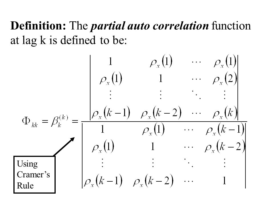 Definition: The partial auto correlation function at lag k is defined to be: