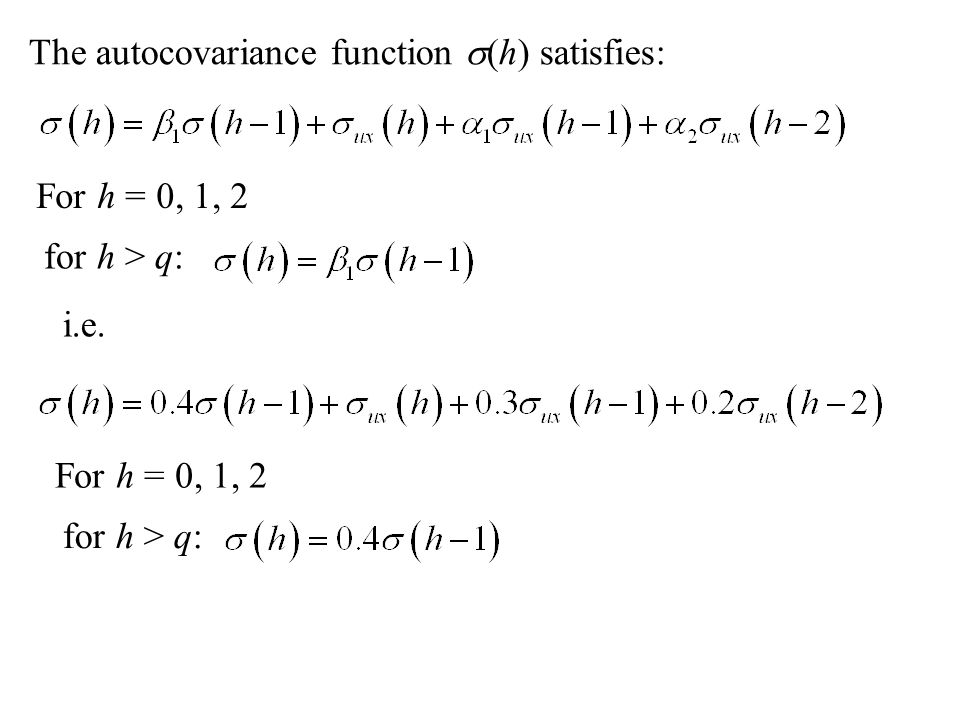 The autocovariance function s(h) satisfies: