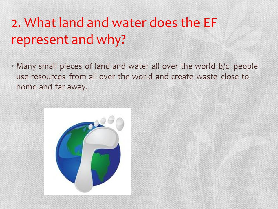 2. What land and water does the EF represent and why