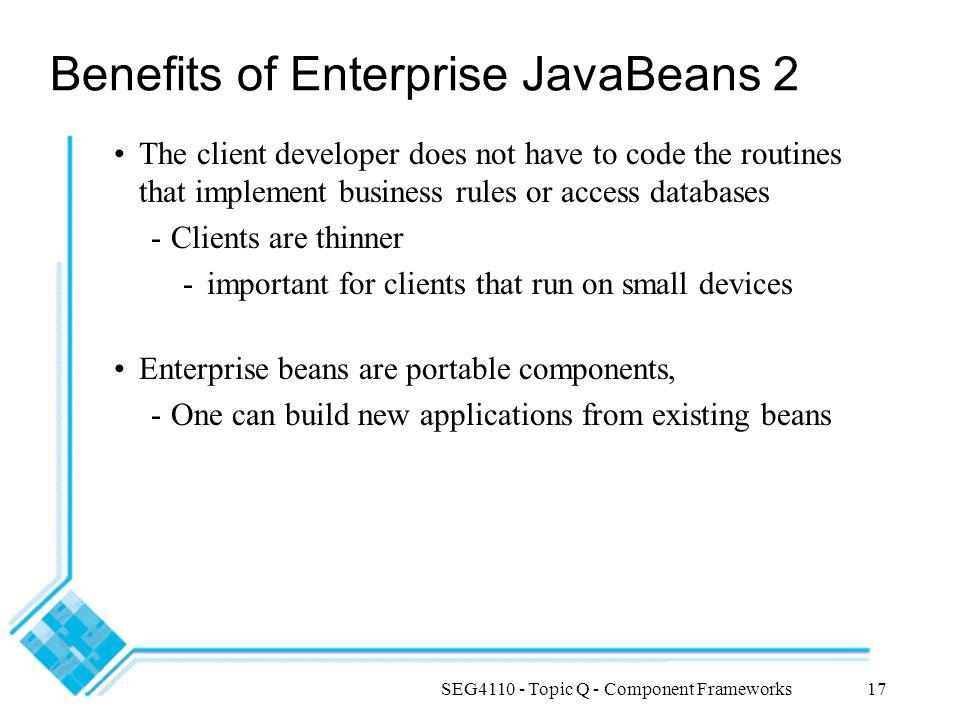 Benefits of Enterprise JavaBeans 2