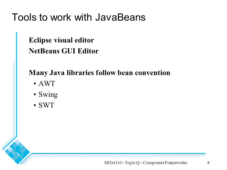 Tools to work with JavaBeans