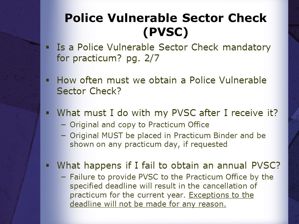 Police Vulnerable Sector Check (PVSC)