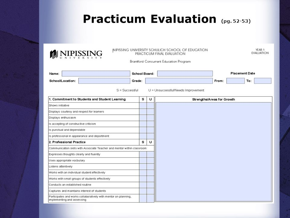 Practicum Evaluation (pg. 52-53)