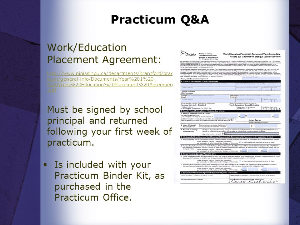 Practicum Q&A Work/Education Placement Agreement: