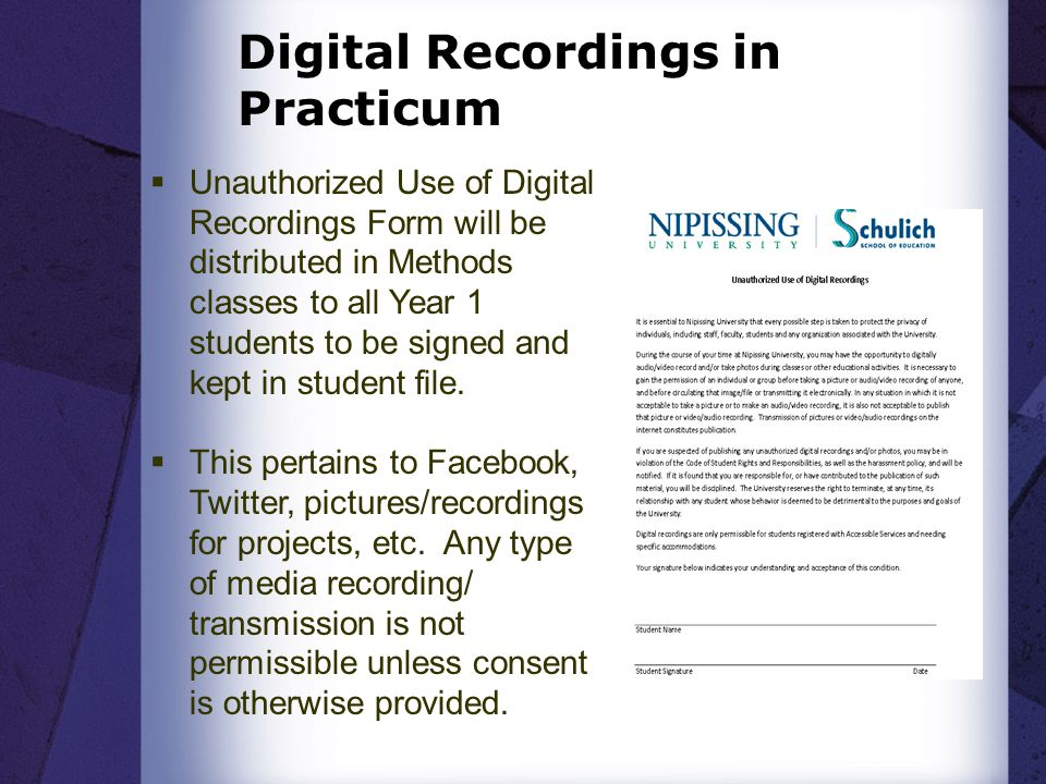 Digital Recordings in Practicum