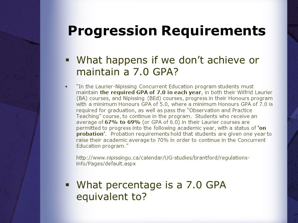 Progression Requirements