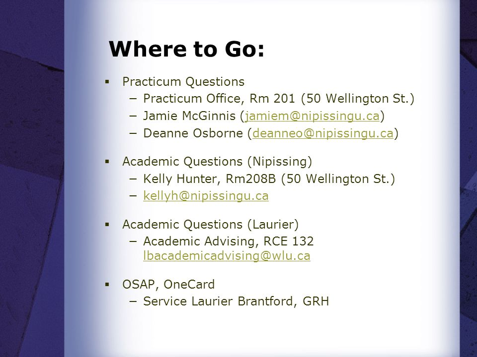 Where to Go: Practicum Questions