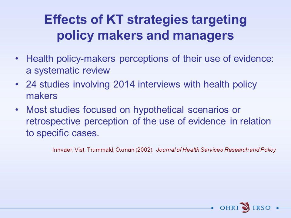 Effects of KT strategies targeting policy makers and managers