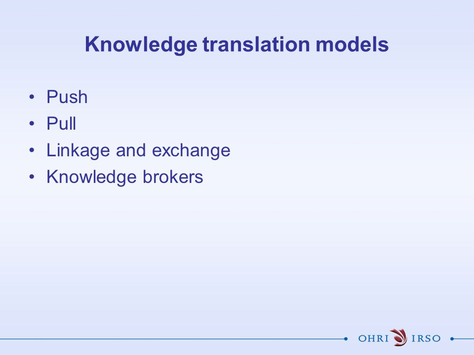 Knowledge translation models