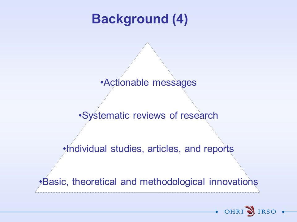 Background (4) Actionable messages Systematic reviews of research