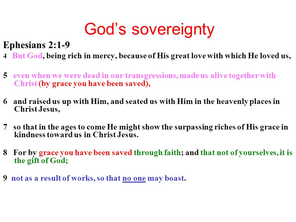 God's sovereignty Ephesians 2:1-9