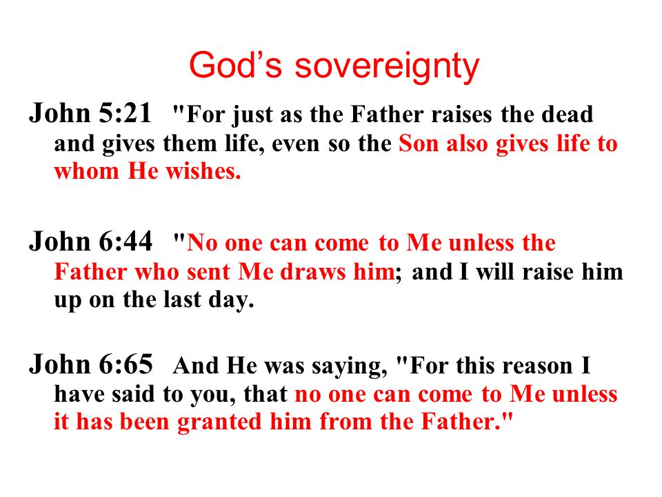 God's sovereignty John 5:21 For just as the Father raises the dead and gives them life, even so the Son also gives life to whom He wishes.